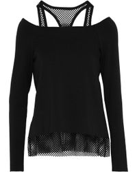 Bailey 44 - Cold-shoulder Mesh-trimmed Stretch-modal Fleece Top - Lyst