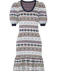 Alexander McQueen - Fair Isle Jacquard-knit Silk-blend Mini Dress - Lyst
