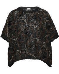 Brunello Cucinelli - Embellished Coated Open-knit Jumper - Lyst