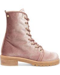Stuart Weitzman - Velvet Ankle Boots Antique Rose - Lyst