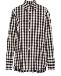 Helmut Lang - Frayed Checked Cotton And Linen-blend Shirt - Lyst