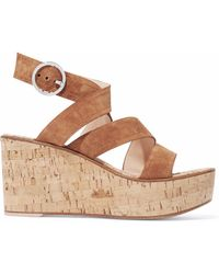 Gianvito Rossi - Suede And Cork Wedge Sandals - Lyst