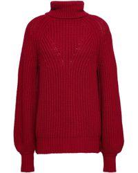 Goat Library - Woman Ribbed-knit Turtleneck Jumper Crimson - Lyst