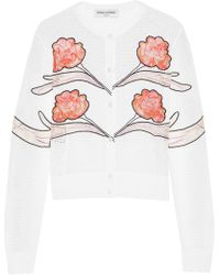 Opening Ceremony - Gestures Embroidered Lace And Mesh-paneled Jersey Cardigan - Lyst
