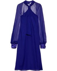 Lanvin - Satin-trimmed Knotted Chiffon Dress Royal Blue - Lyst