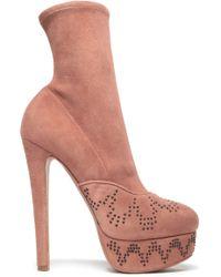 Alaïa - Alaïa Woman Studded Suede Platform Ankle Boots Antique Rose Size 37.5 - Lyst
