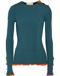 ROKSANDA - Rhea Embellished Ribbed Stretch-knit Jumper - Lyst