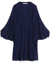 Diane von Furstenberg - Gathered Silk-voile Mini Dress - Lyst