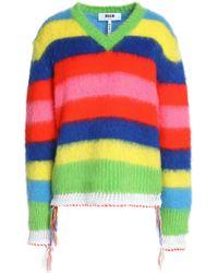 MSGM - Crochet-trimmed Striped Intarsia-knit Jumper Lime Green - Lyst