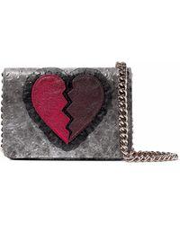 Charlotte Olympia - Appliquéd Metallic Ostritch-effect Leather Shoulder Bag - Lyst