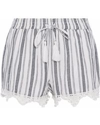 Joie - Angelle Tasseled Crochet-trimmed Striped Cotton-gauze Shorts - Lyst