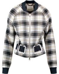 3.1 Phillip Lim - Silk-trimmed Checked Woven Bomber Jacket - Lyst