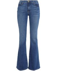 FRAME - Faded Mid-rise Flared Jeans - Lyst