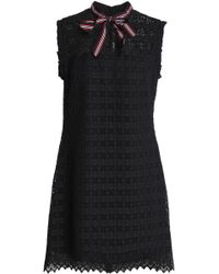 Sandro - Woman Pussy-bow Ruffle-trimmed Guipure Lace Mini Dress Black Size 3 - Lyst
