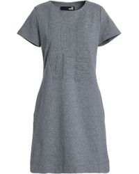 Love Moschino - Woman Embossed French Cotton-blend Terry Mini Dress Grey Size 40 - Lyst
