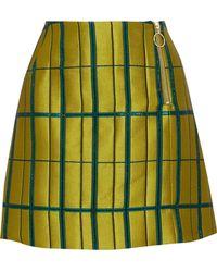 Baum und Pferdgarten - Metallic Satin-twill Mini Skirt Lime Green - Lyst