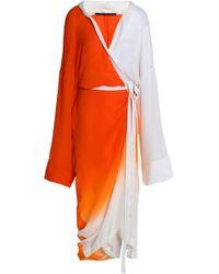 Haider Ackermann - Wrap-effect Dégradé Silk Midi Dress - Lyst