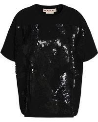 Marni - Sequined Cotton-jersey Top - Lyst