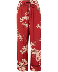 McQ - Printed Crepe De Chine Wide-leg Trousers - Lyst