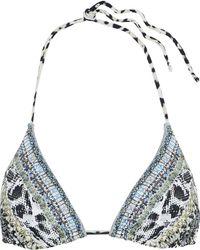 Camilla - Woman Leave Me Wild Crystal-embellished Printed Triangle Bikini Top Animal Print - Lyst