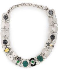 Iosselliani - Woman Silver-tone, Agate And Crystal Choker Silver - Lyst