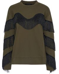 W118 by Walter Baker - Alexis Fringed Mélange Cotton-blend Sweatshirt Army Green - Lyst