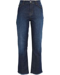 Maje - Frayed High-rise Straight-leg Jeans Dark Denim - Lyst