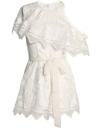 Zimmermann Mercer One-shoulder Embroidered Silk-chiffon Playsuit Ivory