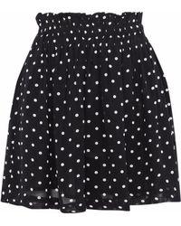 Ganni - Monette Gathered Polka-dot Chiffon Mini Skirt - Lyst