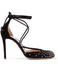 Jimmy Choo - Kamron Lace-up Embellished Suede Pumps - Lyst