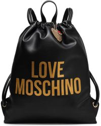 Love Moschino - Logo-print Faux Leather Backpack Black - Lyst