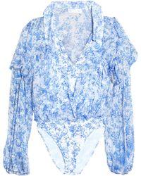 Caroline Constas - Ruffle-trimmed Printed Silk-chiffon Bodysuit - Lyst