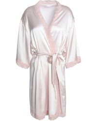Mimi Holliday by Damaris - Corded Lace-trimmed Silk-blend Satin Robe Pastel Pink - Lyst