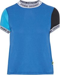 Opening Ceremony - Intarsia-trimmed Color-block Cotton-jersey T-shirt - Lyst