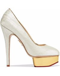 Charlotte Olympia - Dolly Scalloped Leather Platform Pumps - Lyst