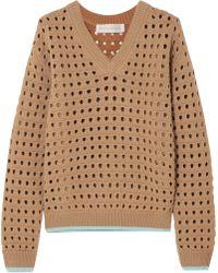 Victoria Beckham - Open-knit Wool-blend Jumper - Lyst