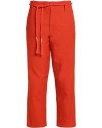 Antik Batik - Belted Cotton-canvas Straight-leg Pants - Lyst