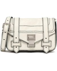 Proenza Schouler - Woman Ps1 Cracked-leather Shoulder Bag Off-white Size -- - Lyst