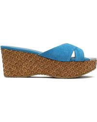 Jimmy Choo - Suede Wedge Sandals - Lyst