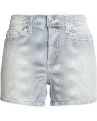 7 For All Mankind - Faded Striped Denim Shorts Light Blue - Lyst