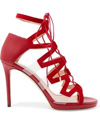 Jimmy Choo - Dani Leather, Suede And Pvc Sandals - Lyst