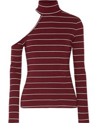 W118 by Walter Baker - Chrissy One-shoulder Ribbed-knit Turtleneck Top - Lyst