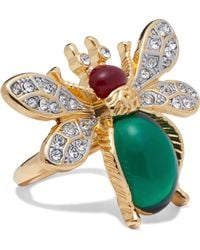 Kenneth Jay Lane - Gold-tone, Crystal And Stone Ring - Lyst