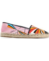 Emilio Pucci - Leather-trimmed Printed Canvas Epsadrilles Pastel Pink - Lyst
