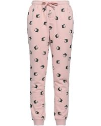 Zoe Karssen - Woman Distressed Printed Cotton-blend Tapered Pants Baby Pink - Lyst