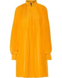 Tibi - Plissé Silk Crepe De Chine Mini Dress - Lyst