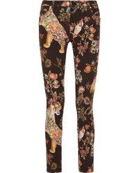 Etro - Printed Stretch Cotton-twill Slim-leg Trousers - Lyst