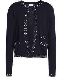 Claudie Pierlot - Studded Stretch-knit Cardigan Midnight Blue - Lyst