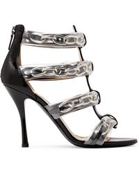 Moschino | Pvc And Chain-trimmed Patent-leather Sandals | Lyst