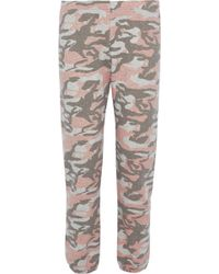 Monrow - Printed French Cotton-blend Terry Track Pants - Lyst